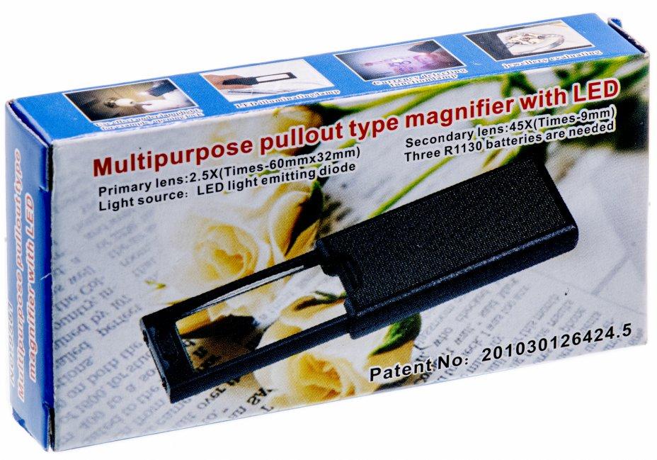 купить Лупа ювелирная 2.5х/45x с подсветкой + ультрафиолет (3 LED) MG9581