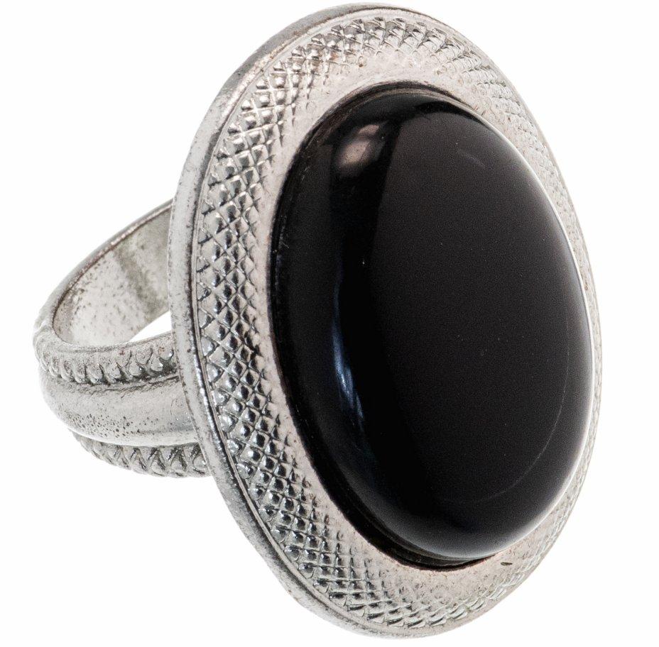 купить Кольцо с овальной вставкой черного цвета, металл, композитный материал, СССР, 1970-1990 гг.