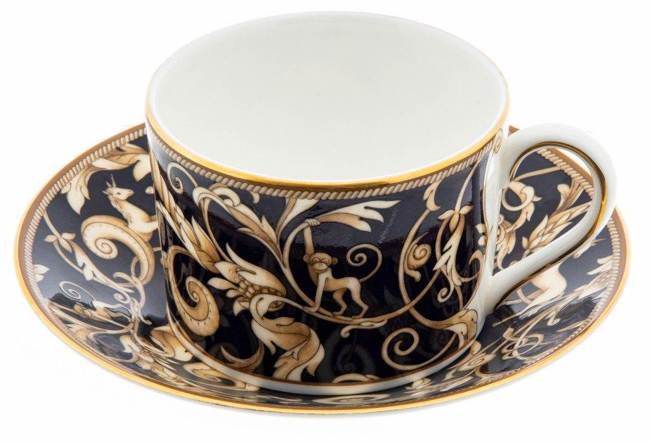 """купить Чайная пара """"Cornucopia"""" с растительным декором, фарфор, деколь, золочение, мануфактура """"Wedgwood"""", Англия, 2000-2020 гг."""