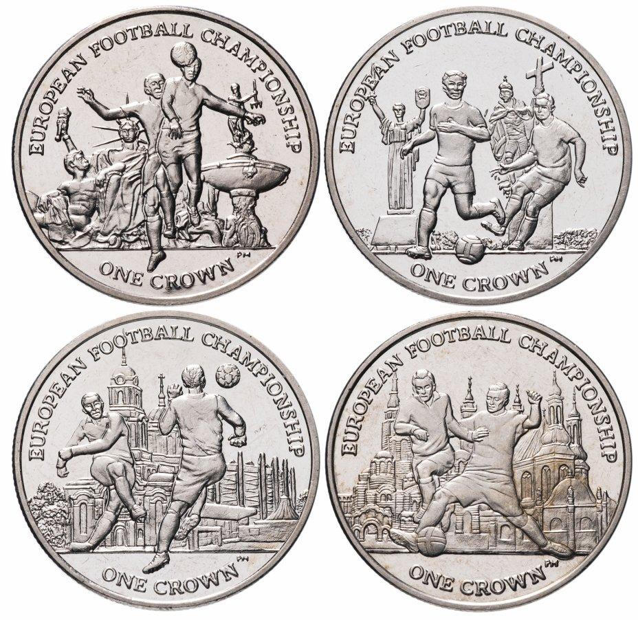 купить Остров Мэн набор 4 монеты 1 крона (crown) 2012 Чемпионат Европы по футболу 2012
