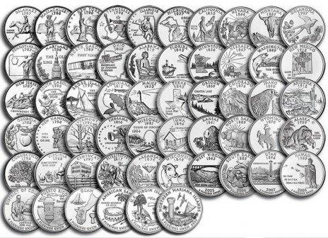 """купить Полный набор квотеров (25 центов) США серии """"Штаты и территории"""" 1999-2009гг (56 монет, без обращения)"""