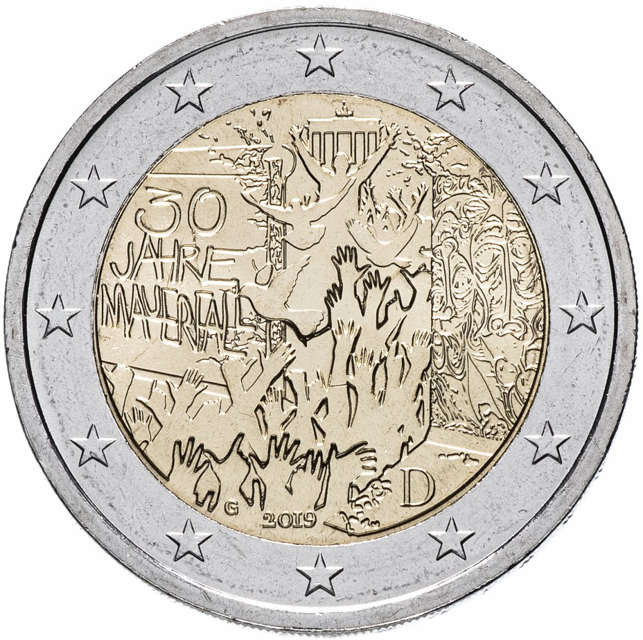 """купить Германия 2 евро 2019 G """"30-летие падения Берлинской стены"""""""