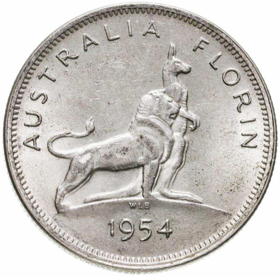 """купить Австралия 2 шиллинга (флорин, shillings) 1954 """"Королевский визит в Австралию"""""""