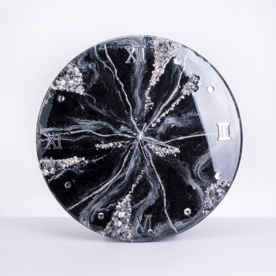 купить Часы настенные, авторская ручная работа в технике Resin Art, Глянцевое 3D покрытие, натуральный камень, Россия, 2021 г.