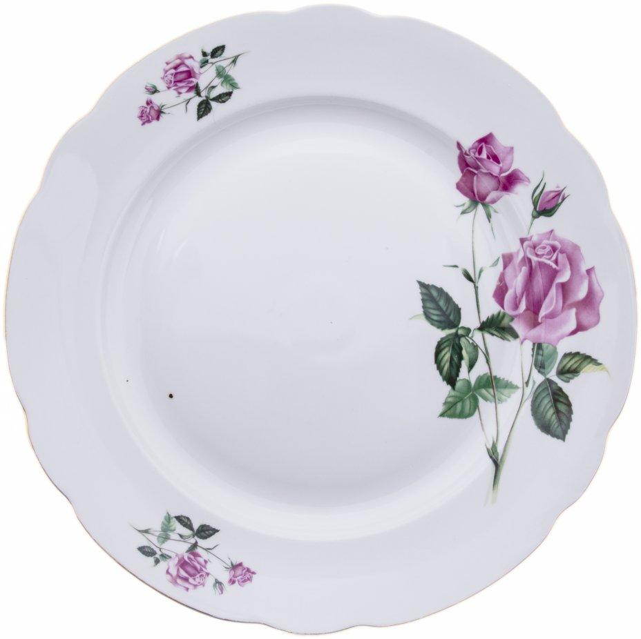 """купить Блюдо с изображением роз, фарфор, деколь, мануфактура """"Gebrüder Benedikt"""", Чехословакия, 1970-1990 гг."""