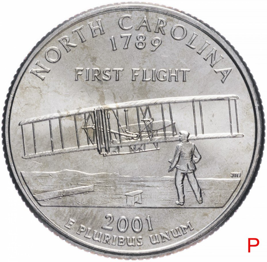 """купить США 1/4 доллара (квотер, 25 центов) 2001 P """"Штат Северная Каролина"""""""
