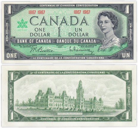 купить Канада 1 доллар 1967 год 100 лет Канадской Конфедерации Pick 84a