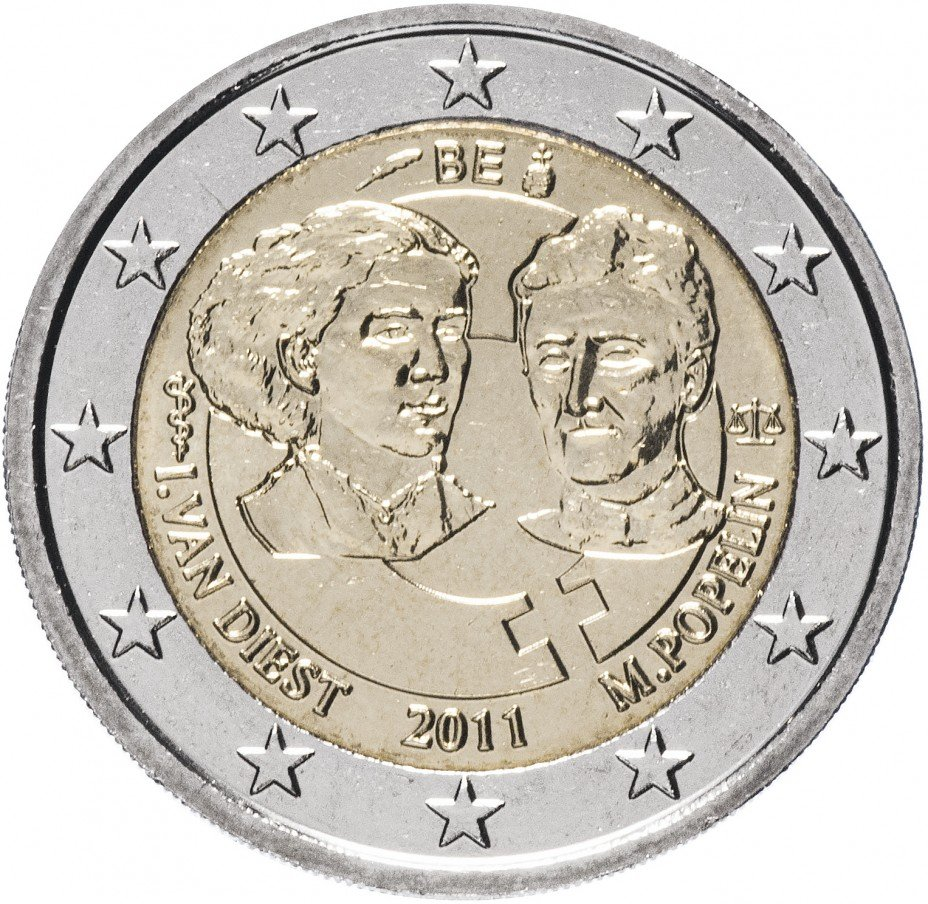"""купить Бельгия 2 евро 2011 """"100 лет Международному женскому дню"""""""