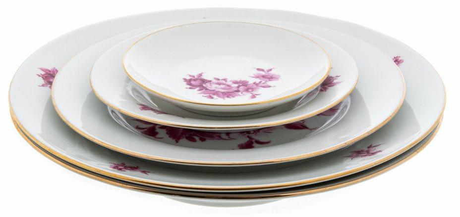 """купить Набор тарелок с цветочным декором на одну персону, фарфор, деколь, мануфактура """"Henneberg porzellan"""", Германия, 1970-1990 гг."""