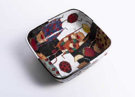 купить Ваза для фруктов с авторским декором, глазурованная керамика, роспись, Россия, 2015-2020 гг.