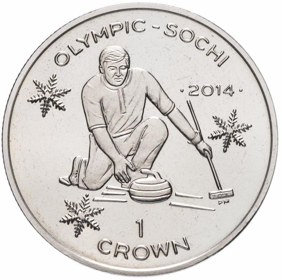 """купить Остров Мэн 1 крона (crown) 2014 """"XXII зимние Олимпийские Игры, Сочи 2014 - кёрлинг"""""""