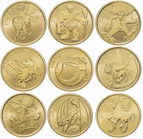 """купить Австралия 2011 года набор из 8ми монет """"Мифические создания"""" в буклете"""