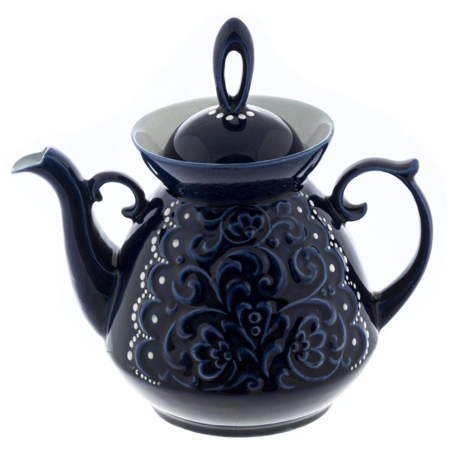 купить Чайник с рельефным декором, фарфор, кобальт, СССР, 1970-1990 гг.