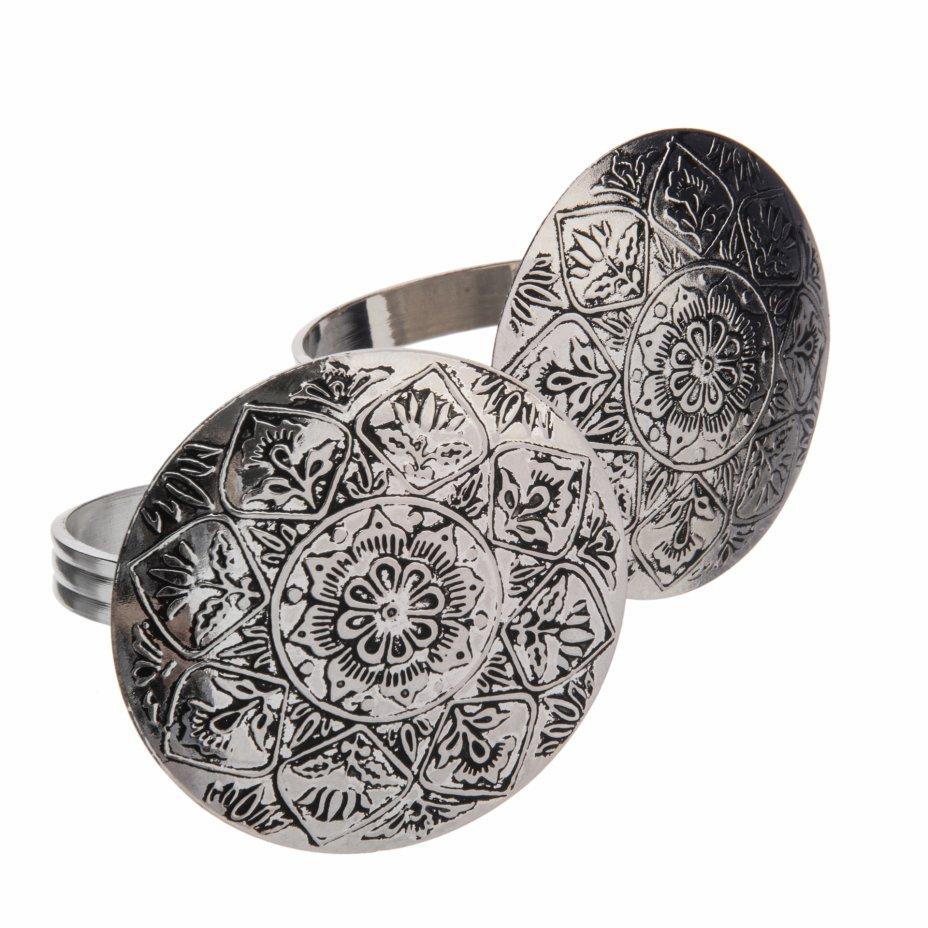 купить Набор из двух колец для салфеток с изображением мандалы, металл, Индия 1970-1990 гг.