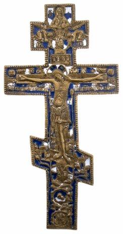 """купить Крест """"Распятие Христово"""" со словами молитвы на обороте, полихромные эмали, бронза, литье, Российская Империя, 1850-1890 гг."""