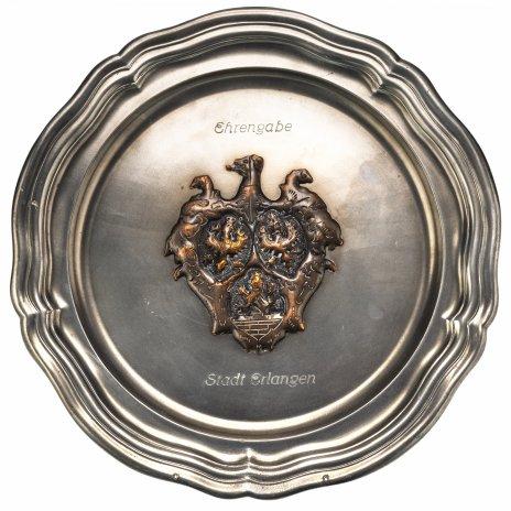 купить Тарелка настенная декоративная с геральдическим изображением, олово, Германия, 1960-1967 гг.
