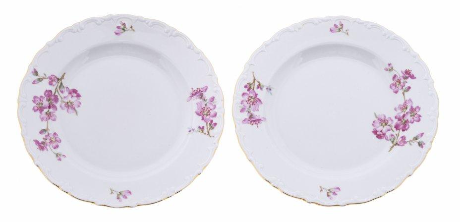 """купить Набор из двух тарелок """"Цветущая вишня"""", фарфор, деколь, мануфактура """"Kahla"""", Германия, 1957-1980 гг."""