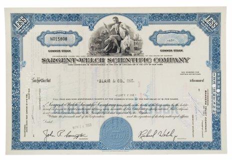купить Акция США SARGENT-WELCH SCIENTIFIC COMPANY 1968 г.