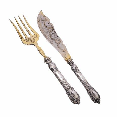 купить Набор сервировочный с рельефным растительным декором на ручке, серебро 900 пр., металл, золочение, Западная Европа, 1900-1920 гг.