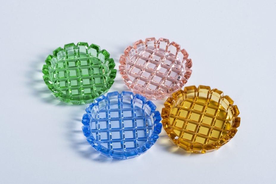 купить Набор из четырех разноцветных розеток, цветное стекло, гранение, Чехословакия, 1970-1990 гг.