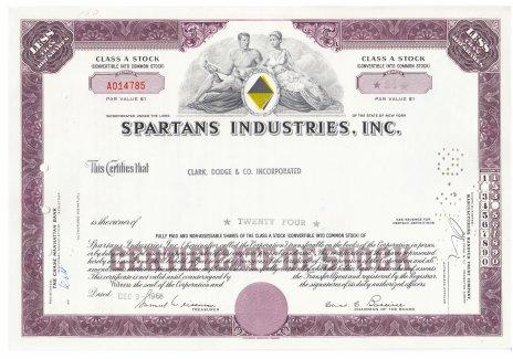 купить Акция США SPARTANS INDUSTRIES, INC. 1968 г.