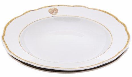 купить Набор из двух обеденных тарелок из Кремлевского сервиза, фарфор, деколь, СССР, 1952-1964 гг.