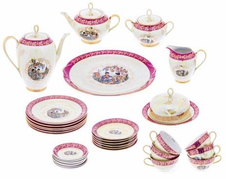 """купить Сервиз чайный """"Мадонна"""" в стиле шинуазри на 7 персон (28 предметов), фарфор, мануфактура """"Bremer&Schmidt"""", Германия, 1970-1990 гг."""