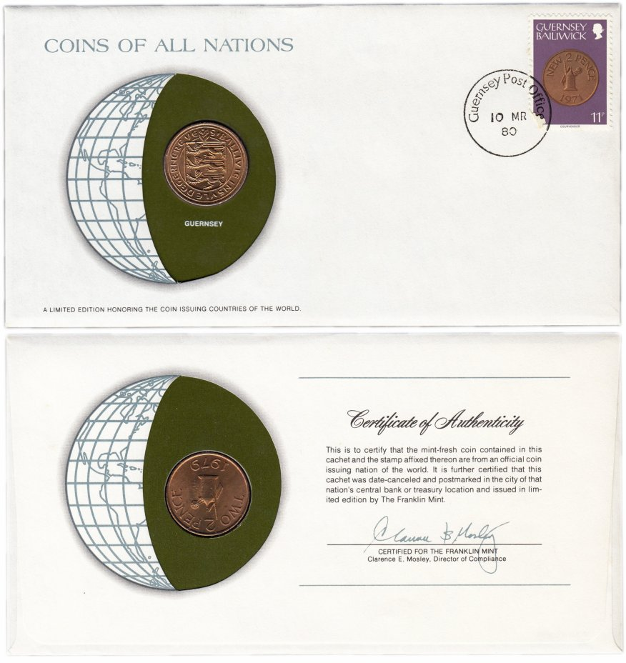 купить Серия «Монеты всех стран мира» - Гернси 2 пенса (pence) 1979 (монета и 1 марка в конверте)