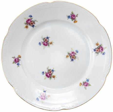 купить Тарелка пирожковая с цветочным декором, фарфор, деколь, золочение, Chodziez, Польша, 1980-1990 гг.