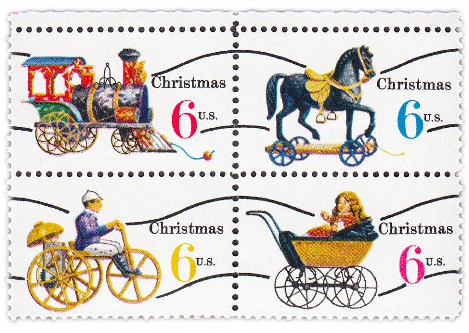 """купить США 1970 набор из четырёх марок 6 центов """"Рождество''"""