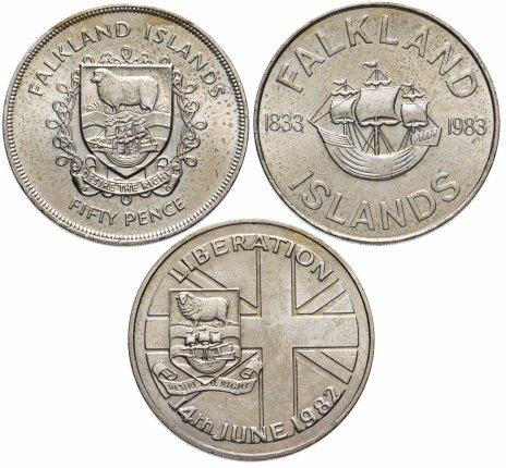 купить Фолклендские острова набор из 3-х монет 50 пенсов 1977-1983