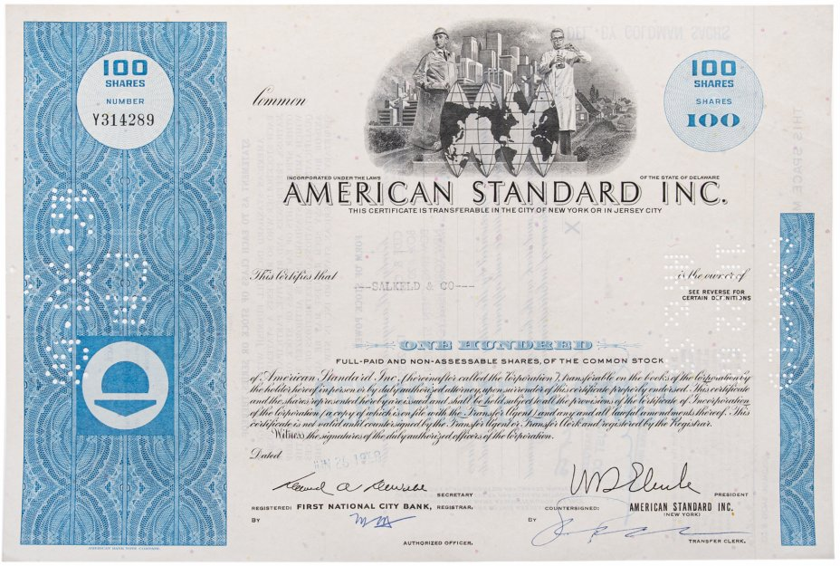 купить Акция США American Radiator & Standard Sanitary Corporation 1968 г.