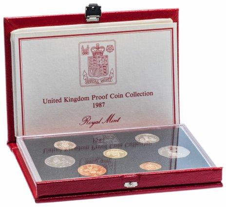 купить Великобритания годовой набор из 7 монет 1987 в футляре с сертификатом и жетоном