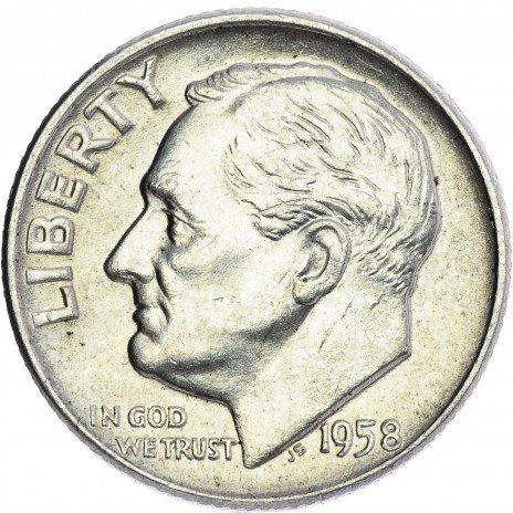 купить США 1 дайм 1958