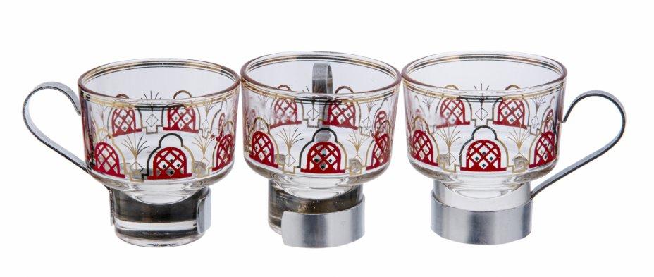 купить Набор  из 3 кофейных чашек с геометрическим декором, стекло, металл, деколь, СССР, 1970-1990 гг.