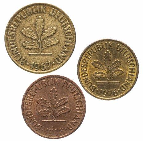 купить Германия, ФРГ набор 2, 5 и 10 пфеннигов 1950-2001, случайная дата