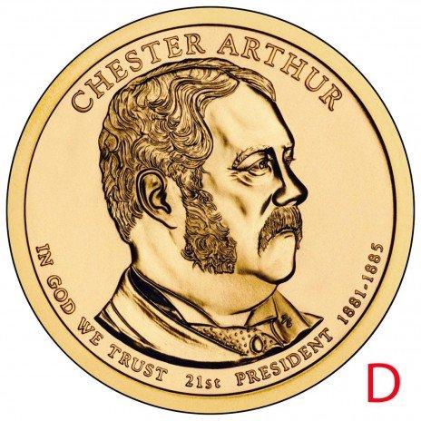 купить 1 доллар 2012 D Честер Артур (21-й президент США)
