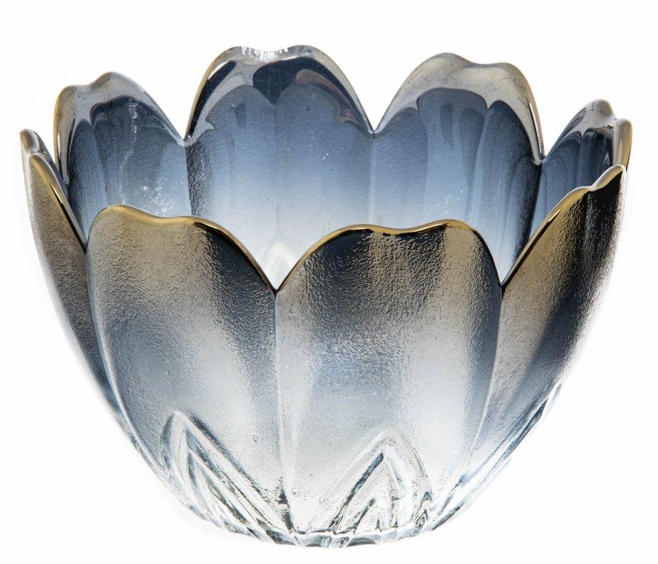купить Вазочка (конфетница) в форме цветка, цветное стекло, люстр, покрытие металлик, СССР, 1970-1990 гг.