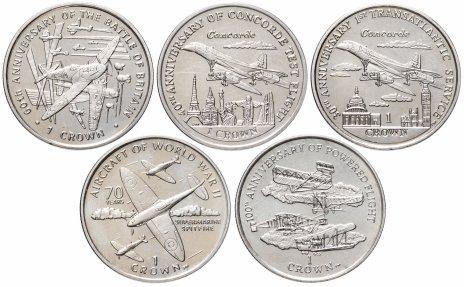 купить Остров Мэн набор из 5 монет 1 крона 2000-2009