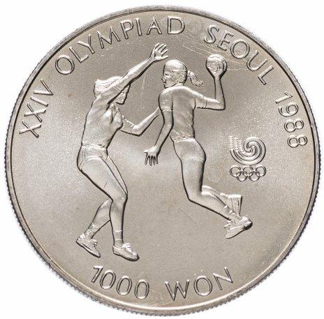 """купить Южная Корея 1000 вон 1987 """"XXIV летние Олимпийские Игры, Сеул 1988 - Гандбол"""""""