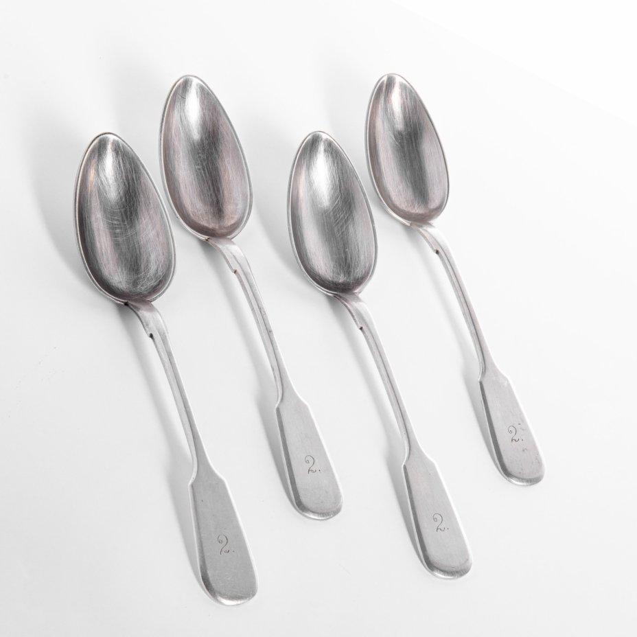"""купить Набор ложек на 4 персоны, металл, серебрение, фирма """"Arthur Krupp"""", г. Берндорф, Австрия, 1927-1938 гг."""