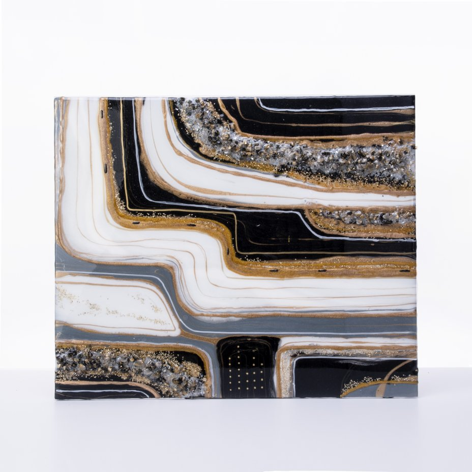 """купить Панно настенное """"Абстракция"""",  авторская ручная работа в технике Resin Art, глянцевое 3D покрытие, натуральный камень, Россия, 2021 г."""