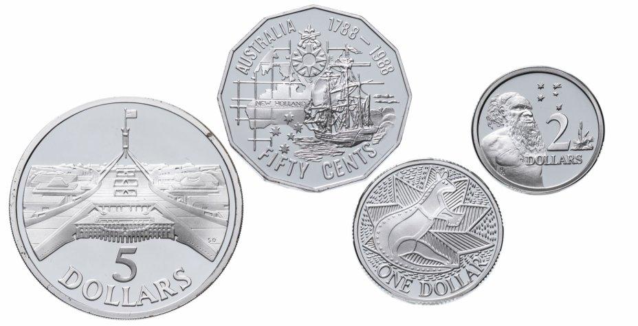 """купить Австралия 1988 года набор из 4х монет """"Выставка в Сиднее"""" в буклете"""