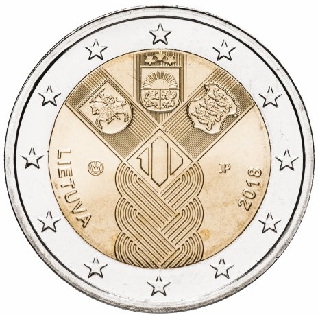 """купить Литва 2 евро 2018 """"100 лет государствам Балтики"""""""