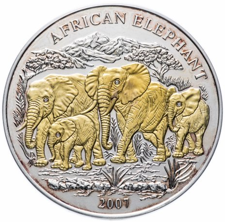 """купить Руанда 1000 франков 2007 """"Африканские слоны"""""""