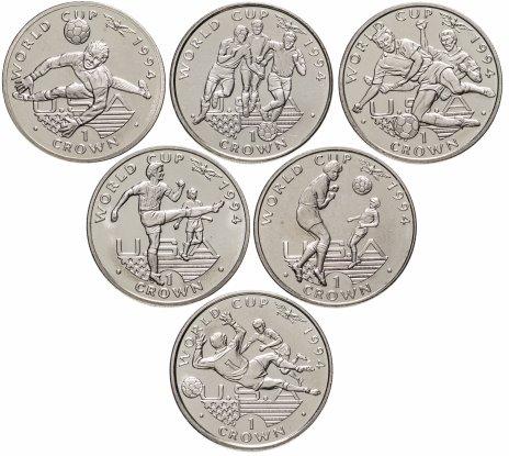 купить Набор 6 монет 1 крона (crown) 1994  Гибралтар Чемпионат мира по футболу 1994