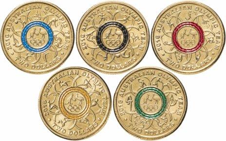 """купить Австралия, набор из 5 монет х 2 доллара 2016 памятные """"Олимпиада в РИО"""" цветная эмаль"""