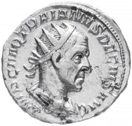 купить Римская Империя Траян Деций 248-251 гг антониниан (реверс: Виктория идет влево, в руках венок и пальмовая ветвь)