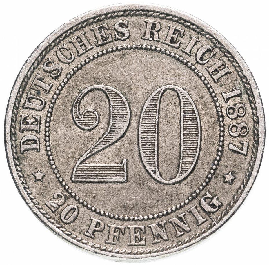 """купить Германия 20 пфеннигов (pfennig) 1887 Знак монетного двора: """"G"""" - Карлсруэ"""
