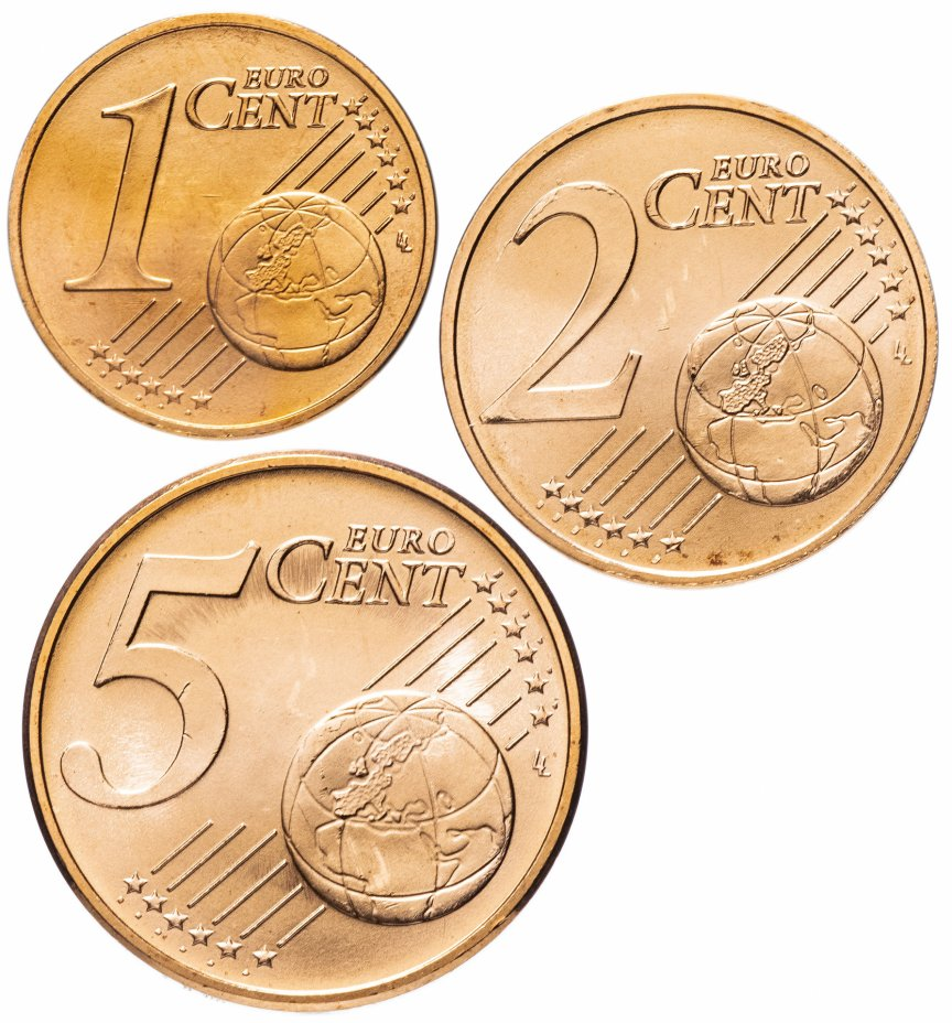 купить Австрия годовой набор 1,2,5 центов 2010-2016 (3 монеты UNC)